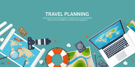 Travel and tourism. Flat style. World, earth map. Globe. Trip, tour,journey,summer holidays. Travelling, exploring worldwide. Adventure,expedition. Table,workplace. Traveler. Navigation or route planning. Vetores