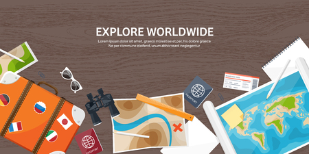 Travel and tourism. Flat style. World, earth map. Globe. Trip, tour, journey, summer holidays. Travelling,exploring worldwide. Adventure,expedition. Table, workplace. Traveler. Navigation or route planning. Wood, wooden. Vetores
