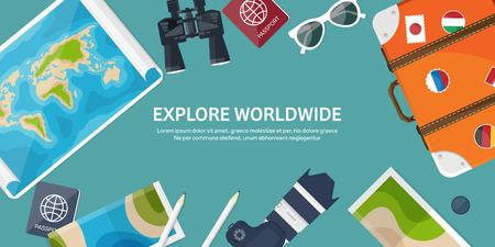Reizen en toerisme. Vlakke stijl. Wereld, aarde kaart. Wereldbol. Reis, reis, reis, zomervakantie. Reizend, het verkennen van de hele wereld. Avontuur, expeditie. Table, werkplek. Traveler. Navigatie of routeplanning. Vector Illustratie