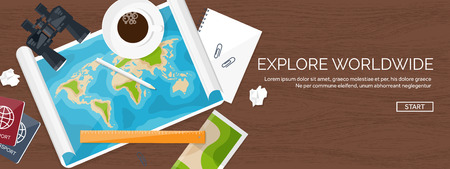 expedition: Travel and tourism. Flat style. World, earth map. Globe. Trip, tour, journey, summer holidays. Travelling,exploring worldwide. Adventure,expedition. Table, workplace. Traveler. Navigation or route planning. Wood, wooden.