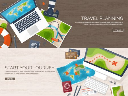 top of the world: Travel and tourism. Flat style. World, earth map. Globe. Trip, tour, journey, summer holidays. Travelling,exploring worldwide. Adventure,expedition. Table, workplace. Traveler. Navigation or route planning. Wood, wooden.