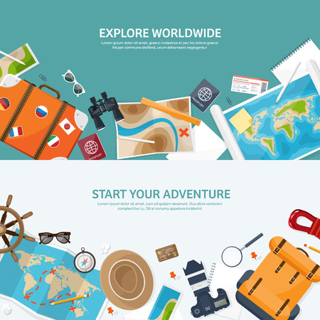 expedition: Travel and tourism. Flat style. World, earth map. Globe. Trip, tour,journey,summer holidays. Travelling, exploring worldwide. Adventure,expedition. Table,workplace. Traveler. Navigation or route planning.