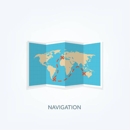 africa continent: World map in a flat style. Earth, globe. Navigation. Route and destination. Icon.