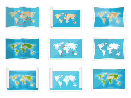 africa people: World map in a flat style. Earth, globe. Navigation. Route and destination. Icon.