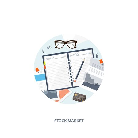 stock trader: Vector illustration. Flat background. Market trade. Trading platform ,account. Moneymaking,business. Analysis. Investing. EPS10 format.