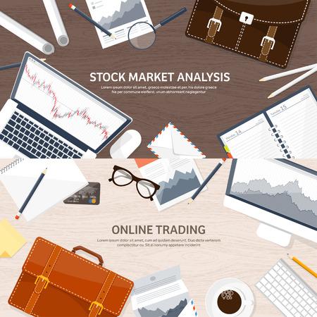 traders: Vector illustration. Flat background. Market trade. Trading platform ,account. Moneymaking,business. Analysis. Investing. EPS10 format.