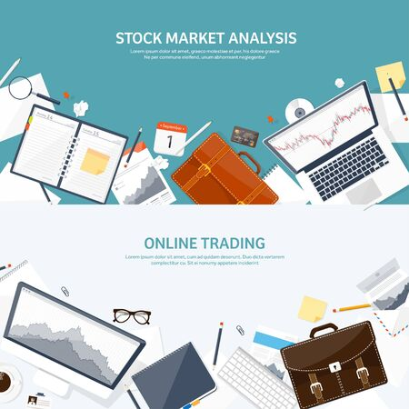 Vector illustration. Flat background. Market trade. Trading platform ,account. Moneymaking,business. Analysis. Investing. EPS10 format.