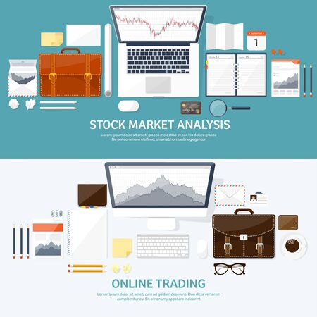 moneymaking: Vector illustration. Flat background. Market trade. Trading platform ,account. Moneymaking,business. Analysis. Investing. EPS10 format.