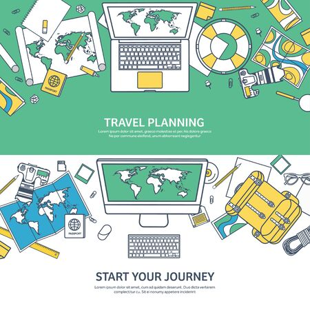 expedition: Travel and tourism. Flat style. World, earth map. Globe. Trip, tour, journey, summer holidays. Travelling,exploring worldwide. Adventure,expedition. Table, workplace. Traveler. Navigation or route planning. Lined.Lines