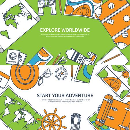 Reizen en toerisme. Vlakke stijl. Wereld, aarde kaart. Wereldbol. Reis, reis, reis, zomervakantie. Reizend, het verkennen van de hele wereld. Avontuur, expeditie. Table, werkplek. Traveler. Navigatie of routeplanning. Lined.Lines Vector Illustratie