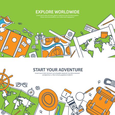 Reizen en toerisme. Vlakke stijl. Wereld, aarde kaart. Wereldbol. Reis, reis, reis, zomervakantie. Reizend, het verkennen van de hele wereld. Avontuur, expeditie. Table, werkplek. Traveler. Navigatie of routeplanning. Lined.Lines