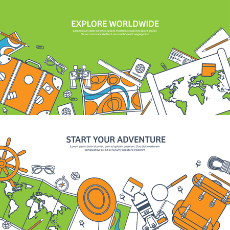 top of the world: Travel and tourism. Flat style. World, earth map. Globe. Trip, tour, journey, summer holidays. Travelling,exploring worldwide. Adventure,expedition. Table, workplace. Traveler. Navigation or route planning. Lined.Lines