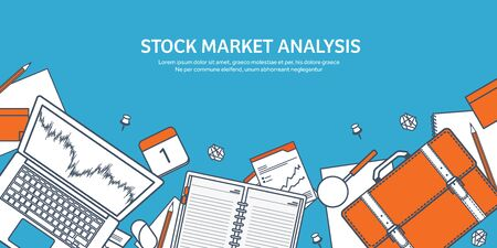 stock trader: Vector illustration. Flat background. Market trade. Trading platform ,account. Moneymaking,business. Analysis. Investing.Line art.Lined. Illustration