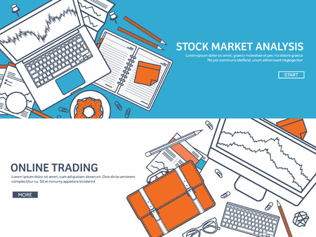 moneymaking: Vector illustration. Flat background. Market trade. Trading platform ,account. Moneymaking,business. Analysis. Investing.Line art.Lined. Illustration