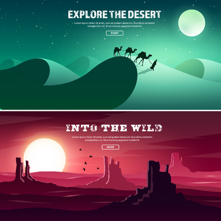 horizont: Desert trip. Extreme tourism and travelling. Back to nature. Sands.Exploring Africa. Horizont line with sky,stars. Mountaines, flying birds.Camels. Illustration