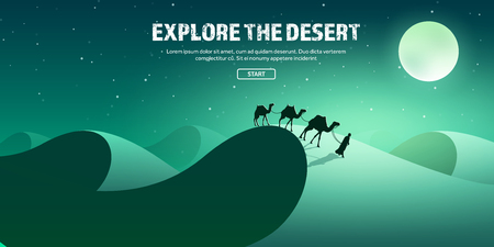 horizont: Desert trip. Extreme tourism and travelling. Back to nature. Sands.Exploring Africa. Horizont line with sky,stars.Camels.