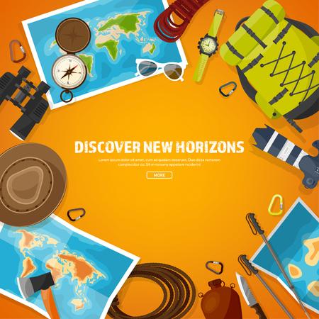 Reizen en toerisme. Vlakke stijl. Wereld, aarde kaart. Wereldbol. Reis, reis, reis, zomervakantie. Reizend, het verkennen van de hele wereld. Avontuur, expeditie. Table, werkplek. Traveler. Navigatie of routeplanning. Hout, houten.