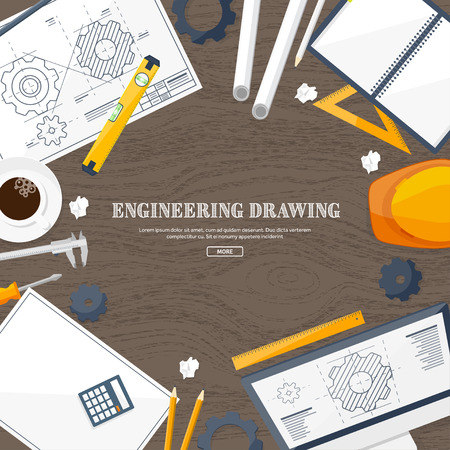 engineering design: Vector illustration. Engineering and architecture. Drawing, construction. Architectural project. Design, sketching. Workspace with tools. Planning, building.