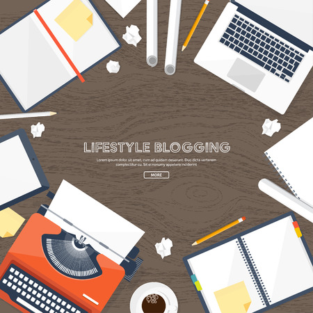 author: Vector illustration. Flat typewriter.Laptop. Tell your story. Author. Blogging.