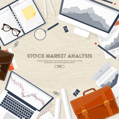 moneymaking: Vector illustration. Flat background. Market trade. Trading platform ,account. Moneymaking,business. Analysis. Investing. Illustration