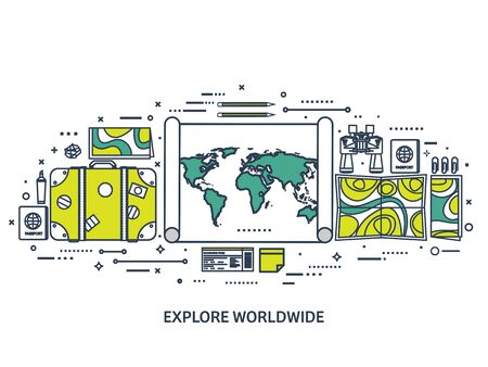expedition: Travel and tourism. Flat style. World, earth map. Globe. Trip, tour, journey, summer holidays. Travelling,exploring worldwide. Adventure,expedition. Table, workplace. Traveler. Navigation or route planning.Line art.