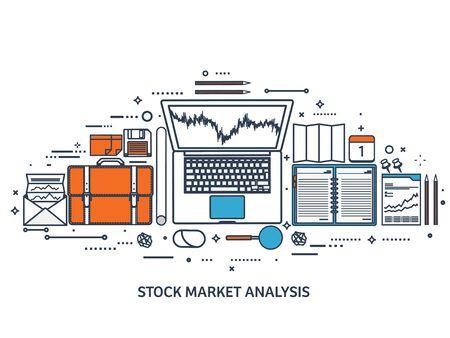 moneymaking: Vector illustration. Flat background. Market trade. Trading platform ,account. Moneymaking,business. Analysis. Investing.Line art.