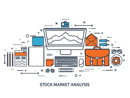 stock trader: Vector illustration. Flat background. Market trade. Trading platform ,account. Moneymaking,business. Analysis. Investing.Line art.
