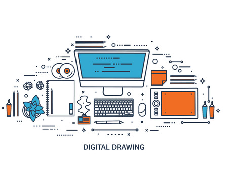 design drawing: Graphic web design. Drawing and painting. Development. Illustration, sketching, freelance. User interface. UI. Computer, laptop.Line art. Illustration