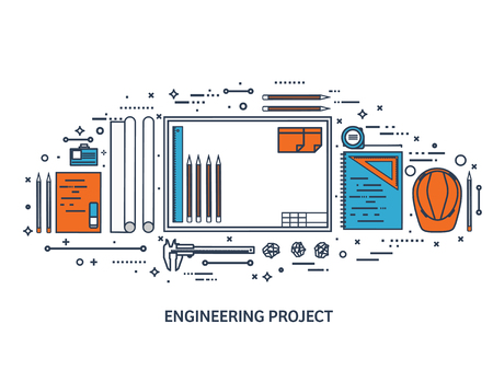 engineering design: Vector illustration. Engineering and architecture. Drawing, construction. Architectural project. Design, sketching. Workspace with tools. Planning, building.Line art.