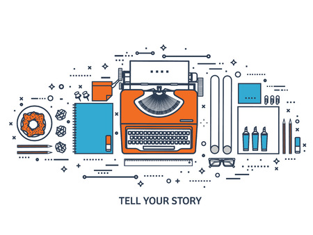 type writer: Vector illustration. Flat typewriter.Laptop. Tell your story. Author. Blogging.Line art.