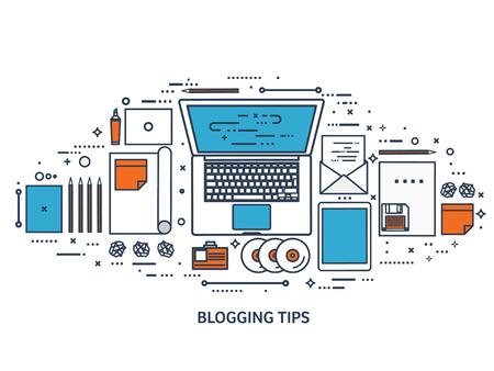 author: Vector illustration. Flat typewriter.Laptop. Tell your story. Author. Blogging.Line art.