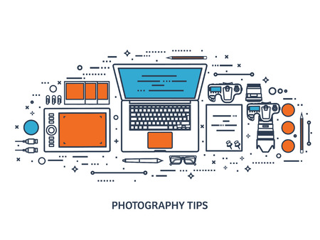 photo tools: Photographer equipment on a table. Photography tools, photo editing, photoshooting flat background. Digital photocamera with lens. Vector illustration.Line art. Illustration