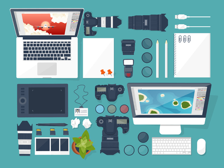 photo tools: Photographer equipment on a table. Photography tools, photo editing, photoshooting flat background. Digital photocamera with lens. Vector illustration