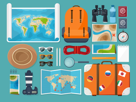 adventurer: Travel and tourism. Flat style. World, earth map. Globe. Trip, tour, journey, summer holidays. Travelling,exploring worldwide Adventureexpedition Table workplace Traveler Navigation or route planning