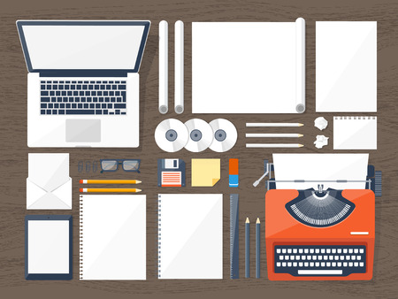 typewriting machine: Vector illustration. Flat typewriter.Laptop. Tell your story Author Blogging