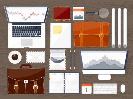 traders: Vector illustration. Flat background. Market trade. Trading platform ,account Moneymakingbusiness Analysis Investing Stock Photo