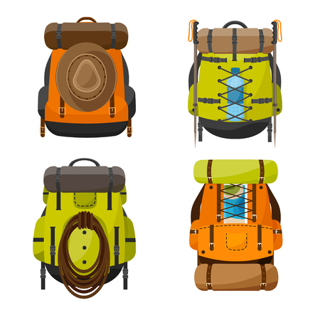 haversack: Backpack in a flat stzle. Vector illustration. School bag.Travel, camping or hiking. Tourism. Luggage