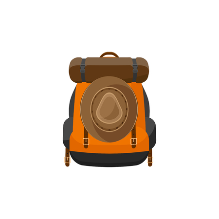 Rucksack in einem flachen stzle. Vektor-Illustration. Schule bag.Travel, Camping oder Wandern. Tourismus. Gepäck Vektorgrafik