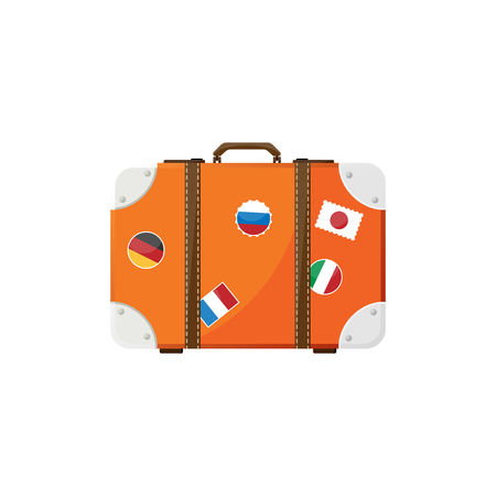 piece of luggage: Suitcase in a flat style. Travel bag. Trolley for tourism. Luggage.Vector illustration