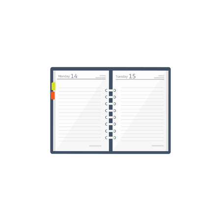 Notebook in a flat style. Reminder, diary. Business planner. Booklet. Paper Vector illustration