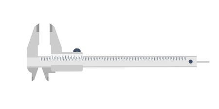 calibrated: Caliper in a flat style. Mesurement. Building and construction. Vector illustration
