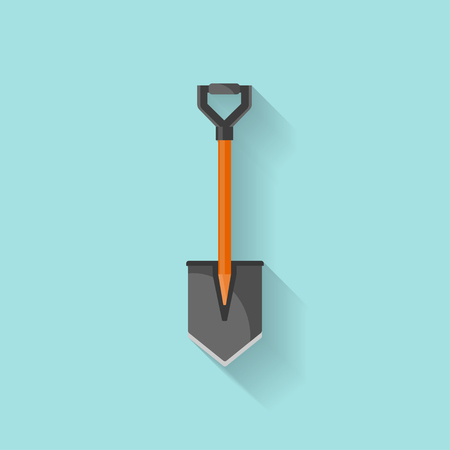 Shovel in a flat style for camping.Garden tool.Work with earth.Gardener.Vector illustration