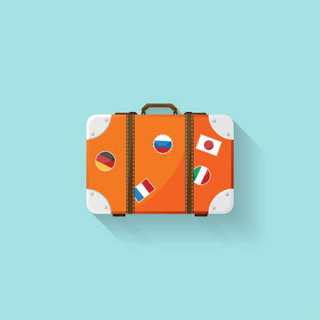 knocking: Suitcase in a flat style. Travel bag. Trolley for tourism. Luggage.Vector illustration