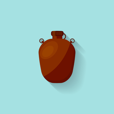 hip flask: Flask with water in a flat style for camping, hiking or travel. Drink bottle. Vector illustration