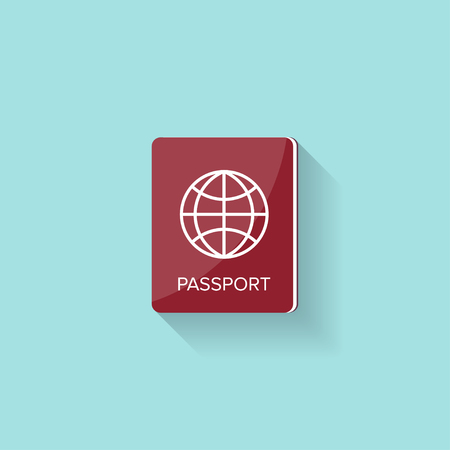 citizenship: Passport in a flat style. Travel, emigration. Citizenship. Passenger document Vector illustration Illustration