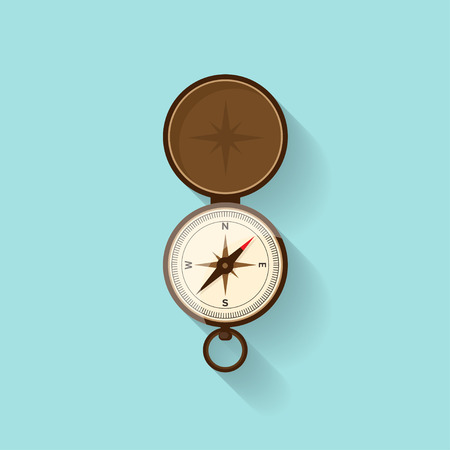 finder: Compass in a flat style. Travel,hiking, camping or tourism. Navigation, route planning. Way finder. Vector illustration