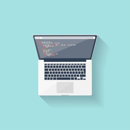 web courses: Programming and coding online. Flat style. Web courses. Internet ui design. App development