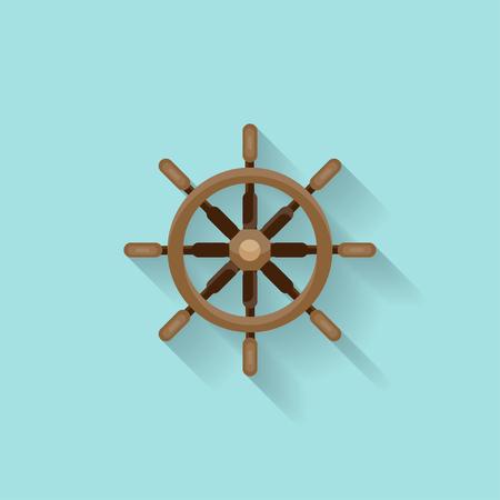 piloting: Ship steering wheel in a flat style. Sailing, travel. Sailboat, sea holidays. Vector illustration Illustration