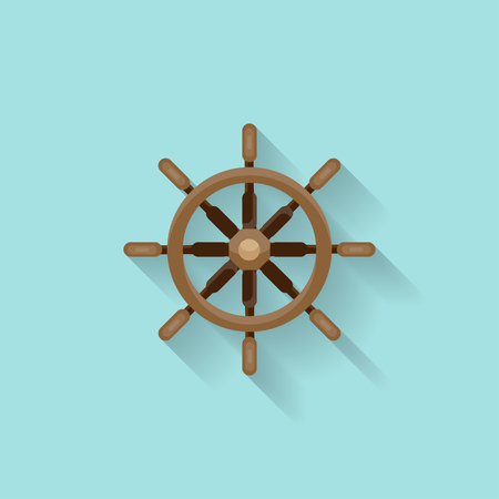Ship steering wheel in a flat style. Sailing, travel. Sailboat, sea holidays. Vector illustration Illustration