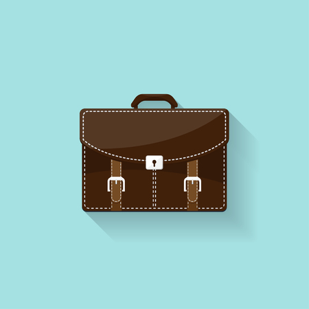 business briefcase: Business briefcase in a flat style. Suitcase, bag for documents. Vector illustration Illustration